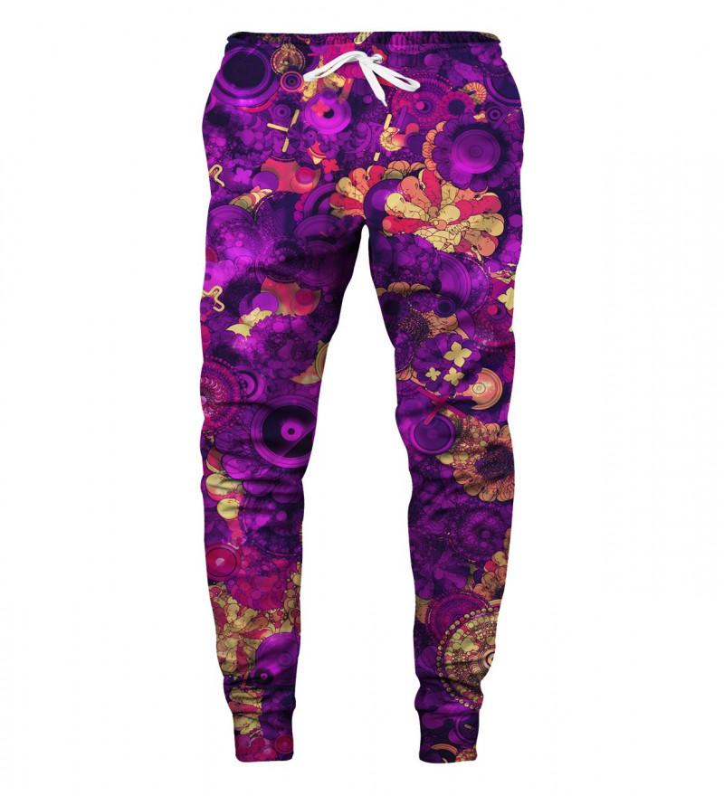 purple sweatpants with flowers