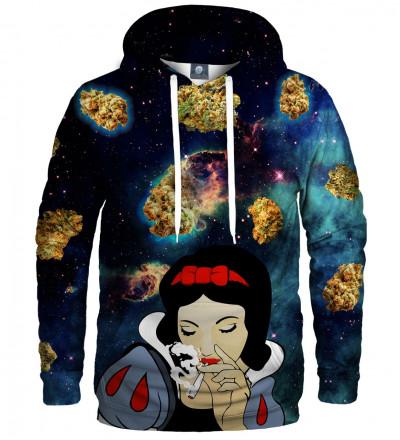 bluza z kapturem z motywem kosmosu i królewny śnieżki