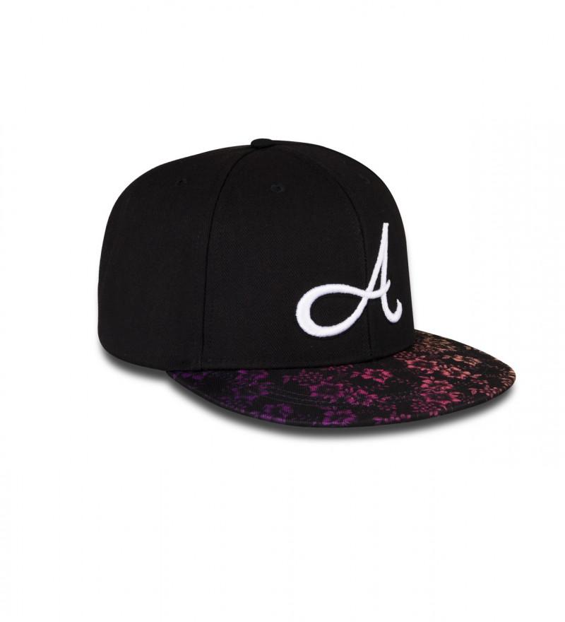 black snapback with floral motive