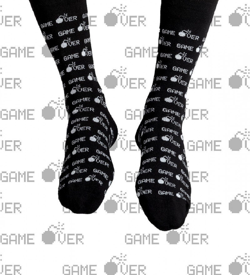 cotton socks with game over inscription