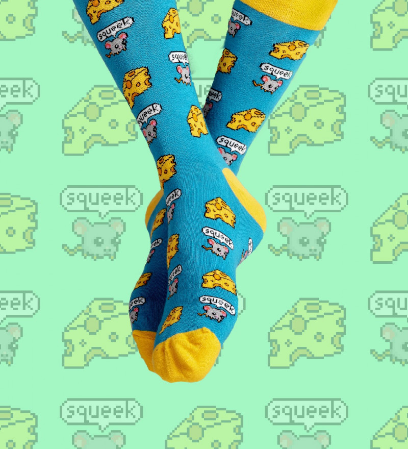 cotton socks with cheese motive