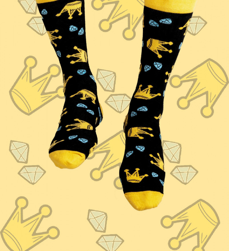 cotton socks with crown motive