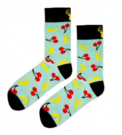 cotton socks with cherry and banana motive