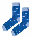 blue socks with water and fish motive