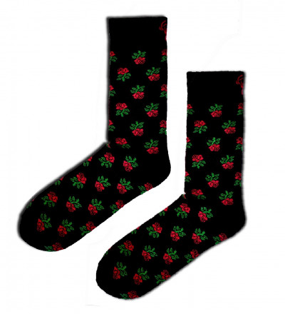 socks with roses motive
