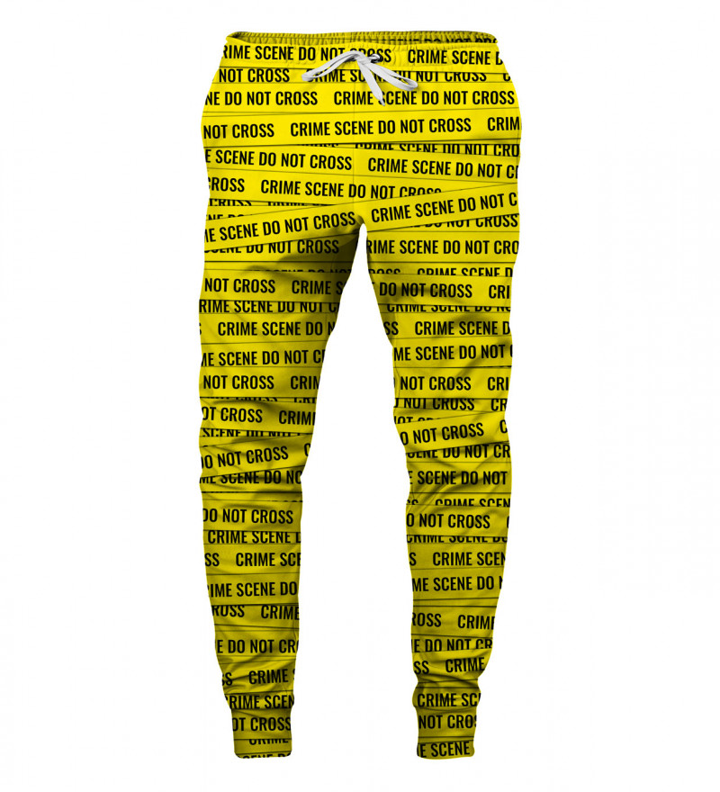 yellow sweatpants with crime scene, do not cross inscription