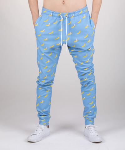 blue joggers with banana motive