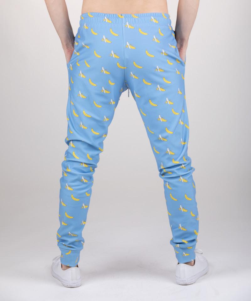niebieskie spodnie dresowe z motywem bananów