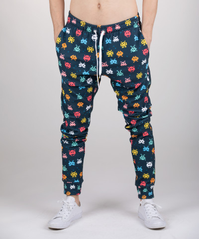 sweatpants with space invaders motive