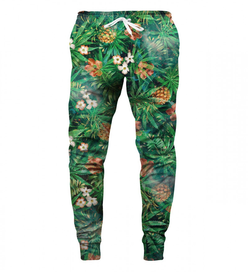 green sweatpants with leaves motive