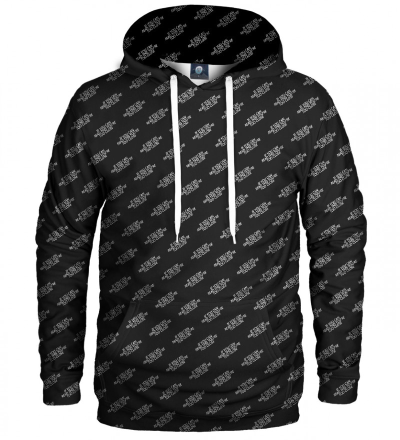 black hoodie with too close inscription