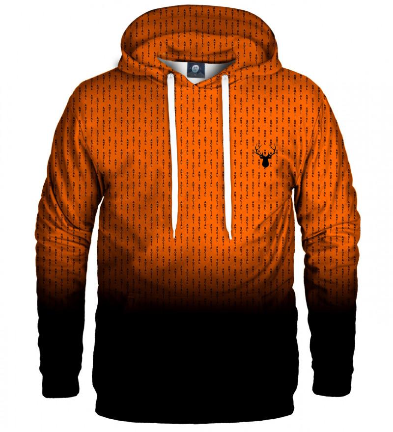 orange hoodie with anti social insciption
