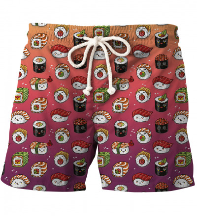 shorts with sushi motive