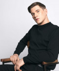 Mock-neck sweater, black
