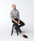 Sweter z półgolfem, szary