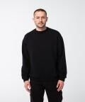 Oversized crew-neck sweatshirt, black
