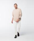 Oversized crew-neck sweatshirt, beige