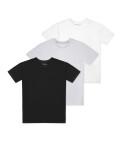 Trójpak t-shirtów z okrągłym dekoltem, Biały/czarny/szary