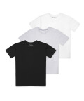 O-neck t-shirt 3 pack, White/black/grey