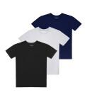 Trójpak t-shirtów z okrągłym dekoltem, Szary/czarny/granatowy