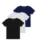 V-neck t-shirt 3 pack, Black/grey/navy