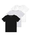 V-neck t-shirt 3 pack, Black/grey/white