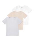 V-neck t-shirt 3 pack, Beige/grey/white