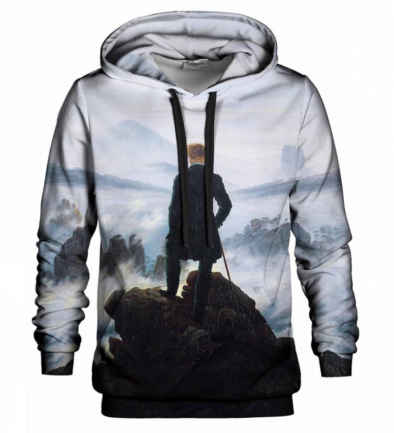 Printed hoodie Wanderer above sea fog