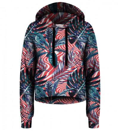Abstract Flowers cropped hoodie