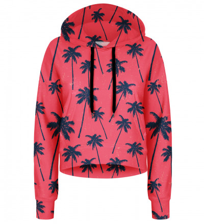 Red Palms cropped hoodie