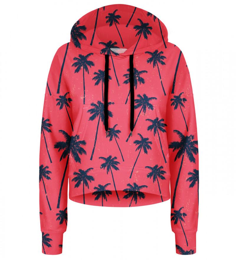 Crop hoodie Red Palms