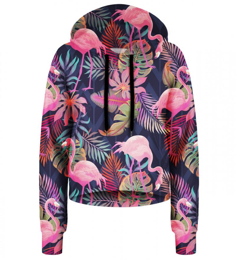 Flamingos cropped hoodie