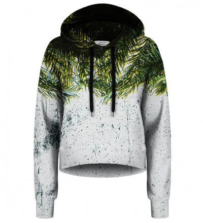 Palm Leaves cropped hoodie without pocket