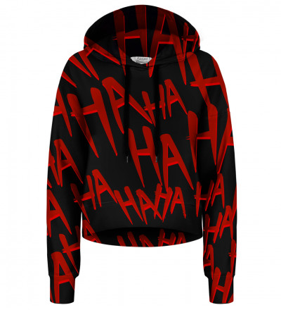 Just Hahaha cropped hoodie without pocket
