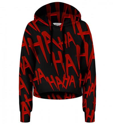 Crop hoodie bez kieszeni Just Hahaha