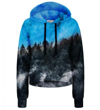 Crop hoodie bez kieszeni Mighty Forest Blue