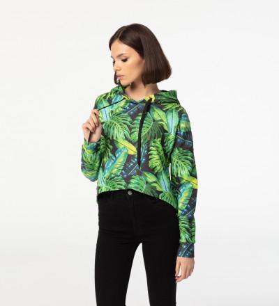 Crop hoodie bez kieszeni Tropical