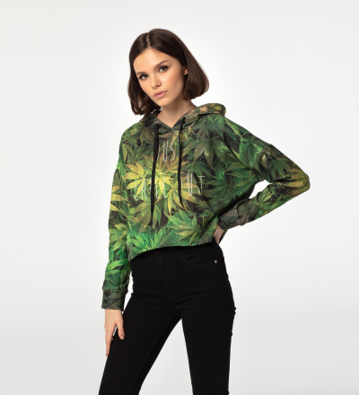 Weed cropped hoodie