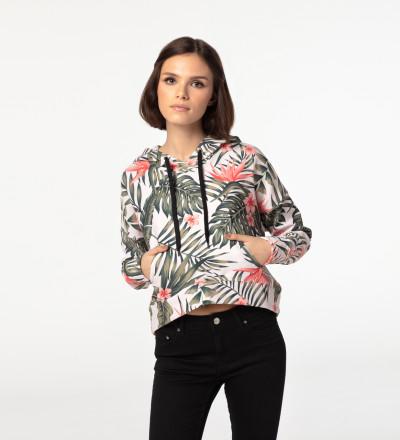 Jungle Flowers cropped hoodie