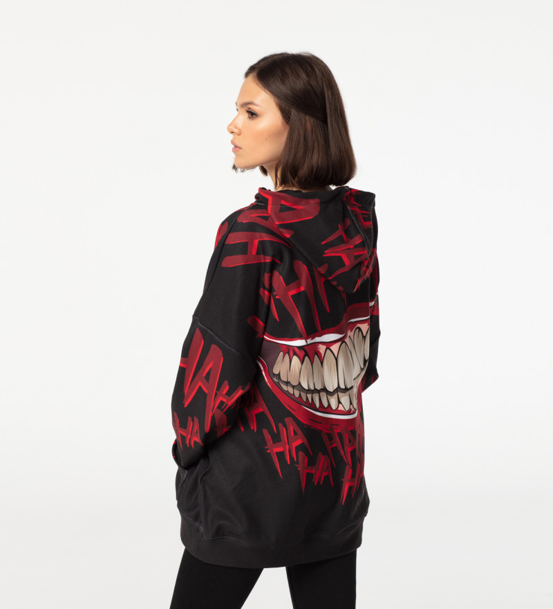Bluza z kapturem oversize Hahaha Black