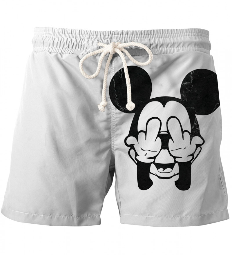 Rebel White Grunge swim shorts