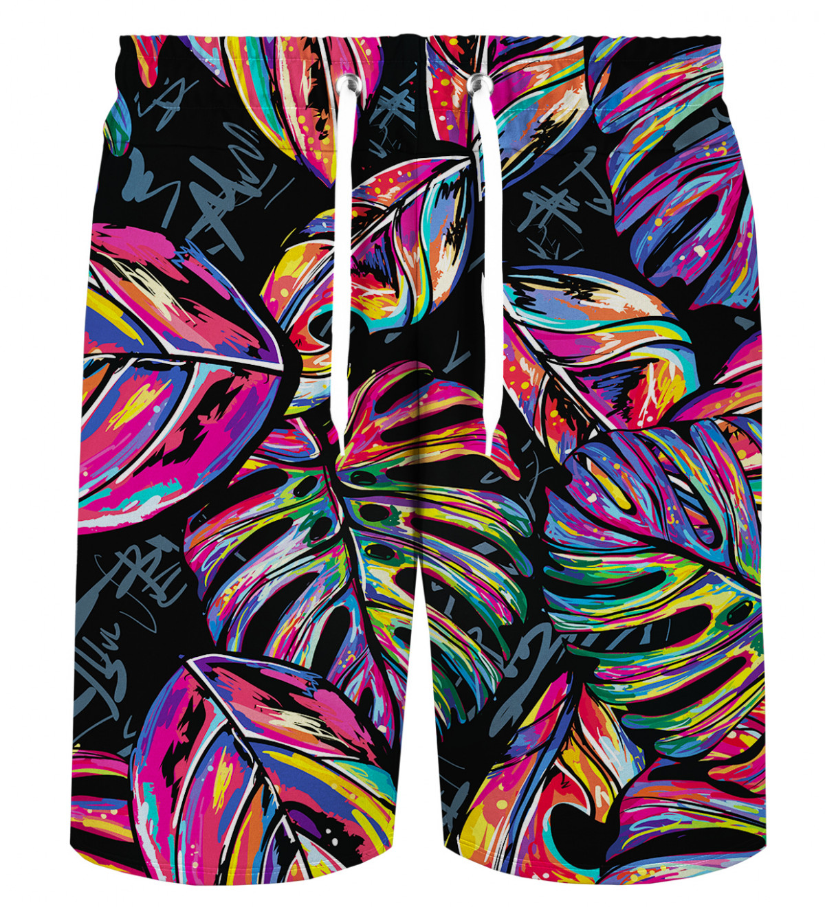 Mens Abstract Doodle Wolf Pattern Board Shorts Swimming Shorts