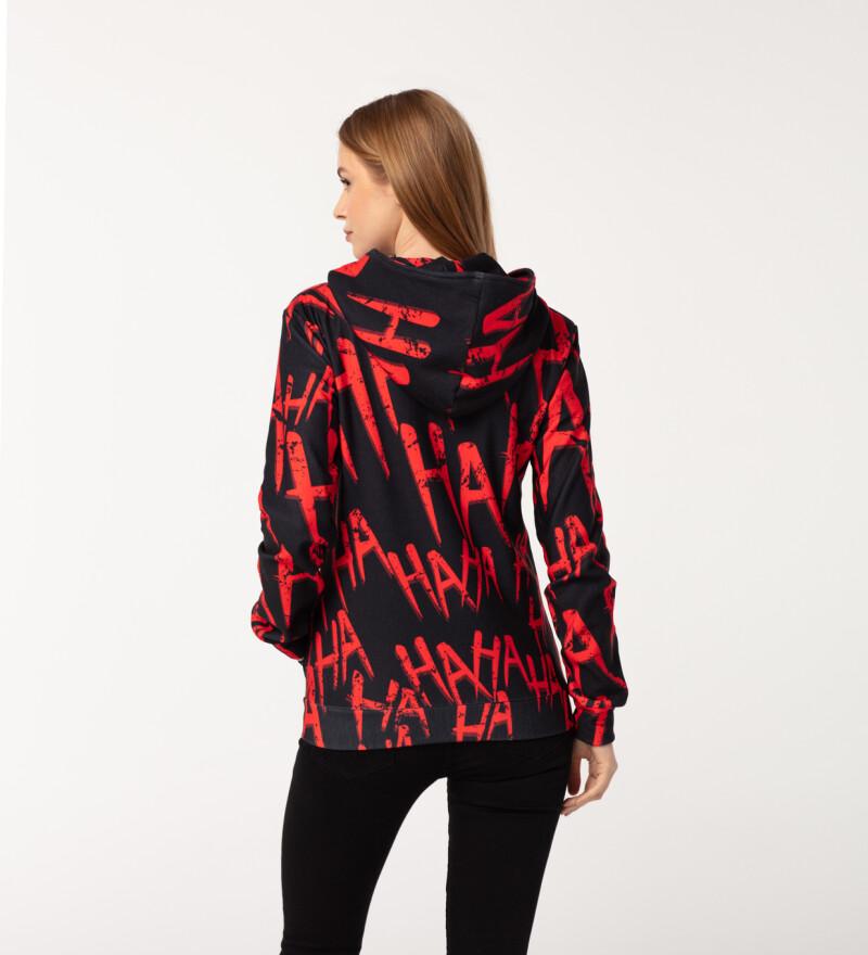 Just Hahaha Red womens zip up hoodie