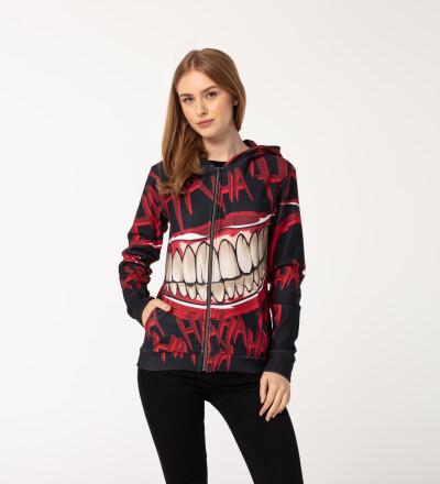 Hahaha Black womens zip up hoodie