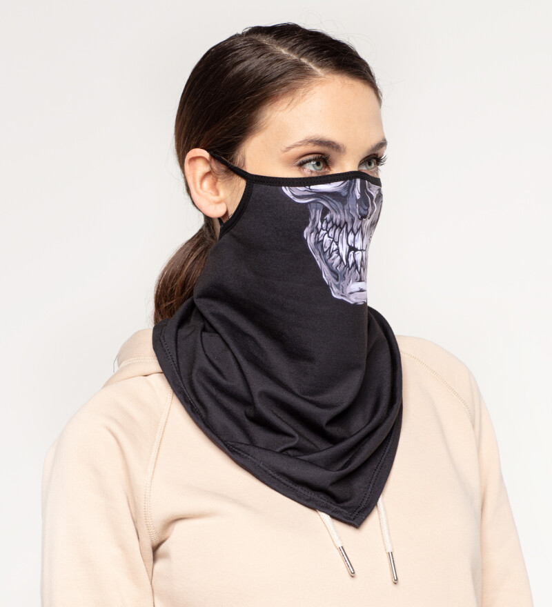 Grey Skull womens bandana face mask