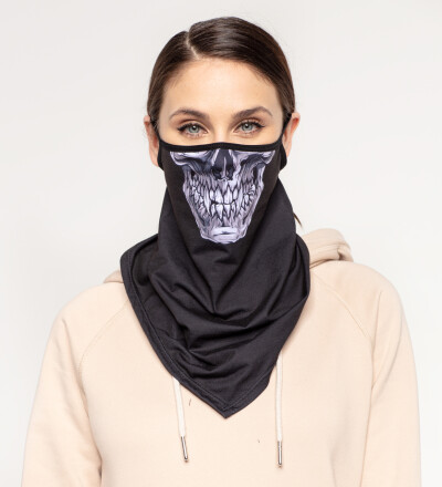 Grey Skull womens bandana face mask