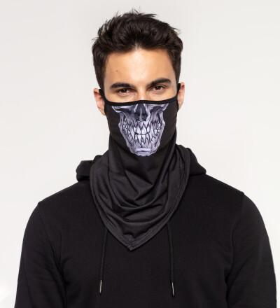Grey Skull bandana face mask