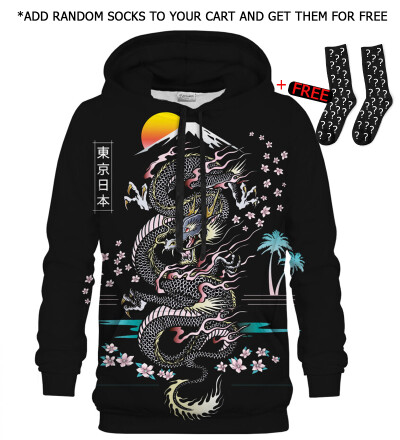 Printed Hoodie - Asian Dragon