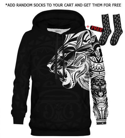 Printed Hoodie - Polynesian Lion Black