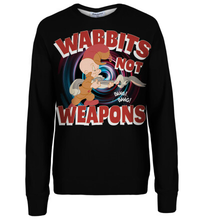 Wabbits no weapons womens sweatshirt